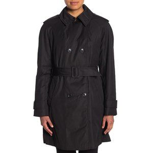 NWT Kate Spade Double Breasted Black Trench Coat L